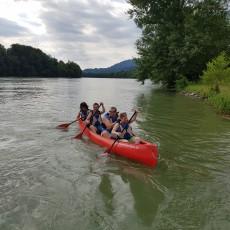 Abteilungsausflug mit dem Raftingboot auf dem Rhein und Sommerfest am 22. Juli